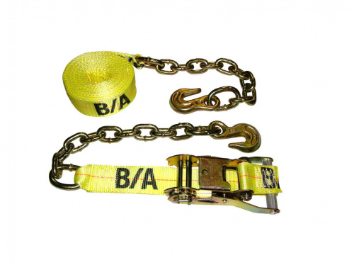 2in x 27ft Ratchet Tie Down Strap with Chains and Grabs