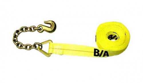 4IN x 40FT Tie Down Strap with Chain and Grab Hook One EndSTRAP CHAIN & GRAB HOOK ONE END