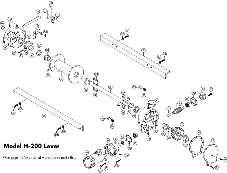 ramsey winch hydraulic 200 series parts h/d/y 200
