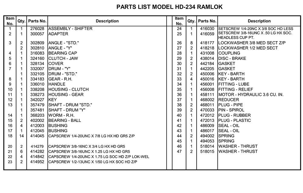 Ramsey hd234r Winch Diagram list