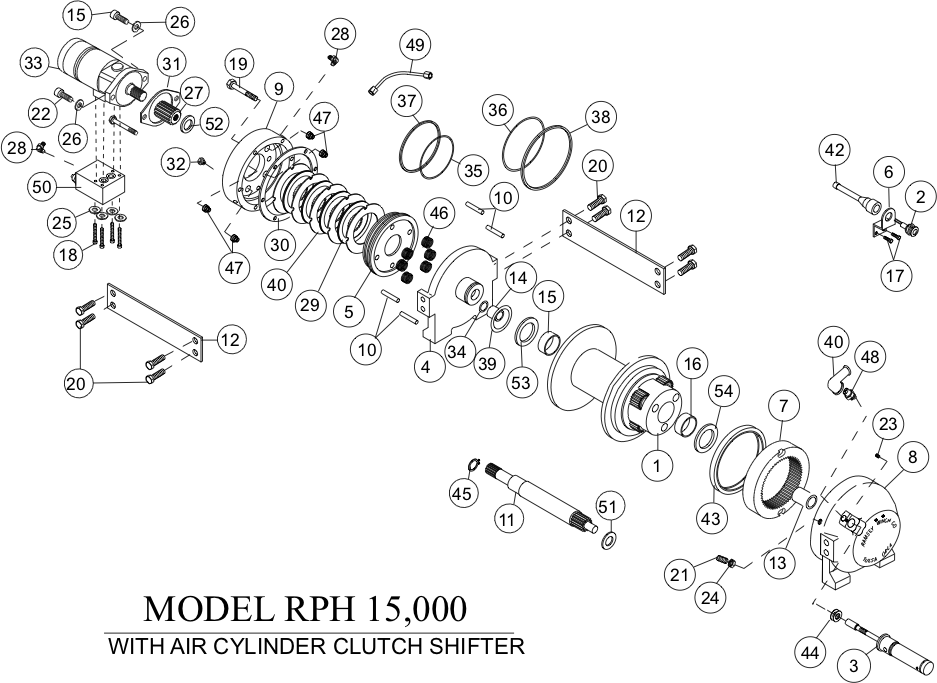 Ramsey Winch RPH-15000 Parts Diagram - Air Shift