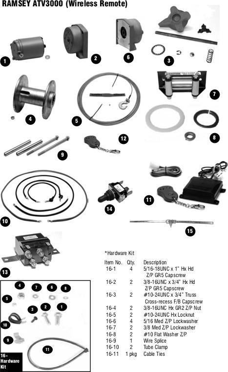 Ramsey Winch Atv 3000 Parts
