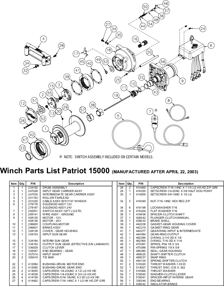 Ramsey Winch Patriot 15000 Parts Diagram