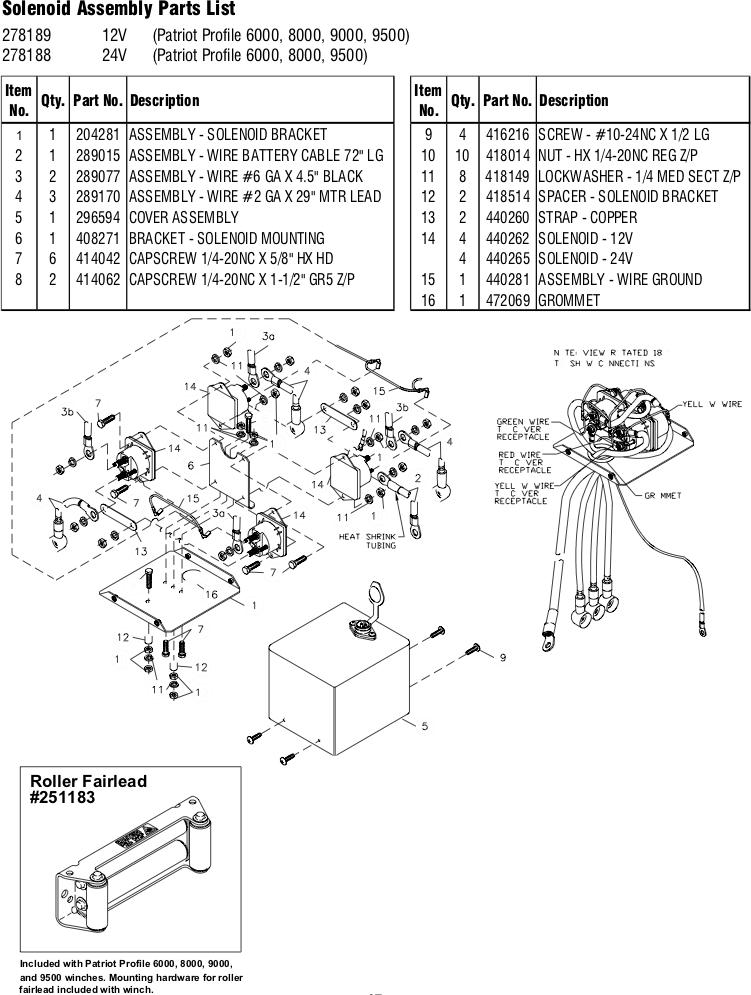 ramsey winch patriot profile 9500 parts