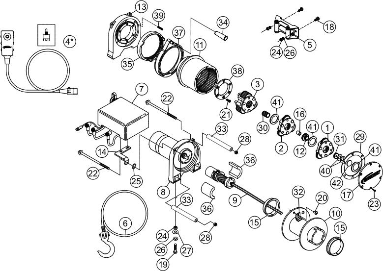 ramsey winch utv 5000 parts