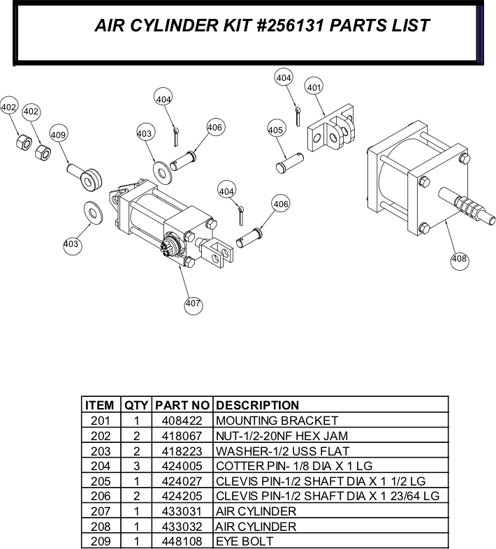 256131 Air Cylinder Kit Parts List
