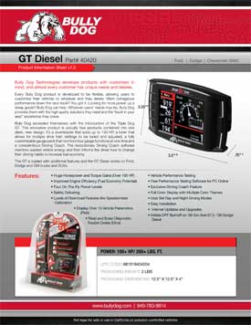 Bully Dog 40420GT Diesel Product Information