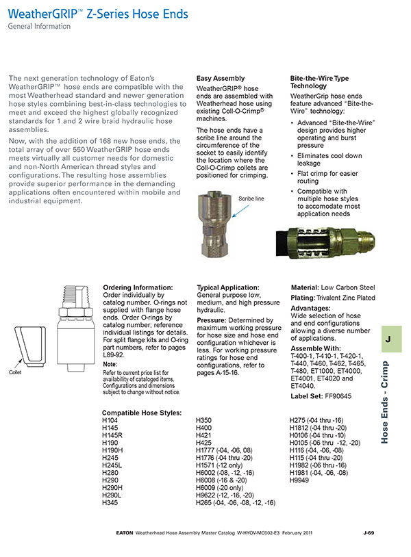 Eaton Weather Grip Fitting Information