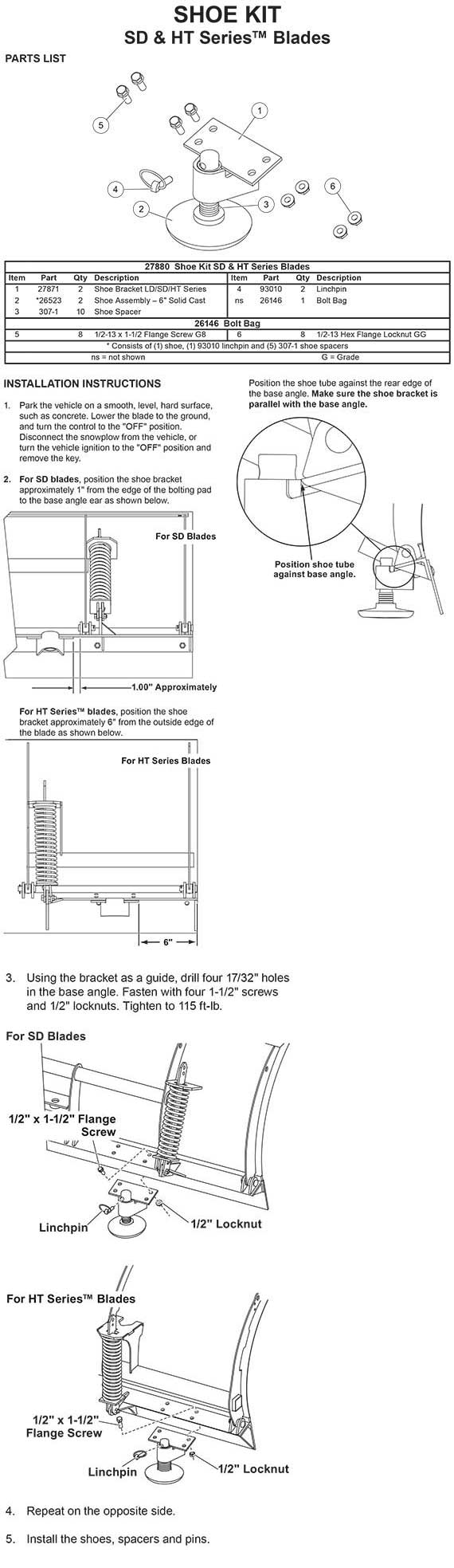 27880 Shoe Kit Sd Series W 26 High Blade Ht Fisher Xls Plow Wiring Diagram
