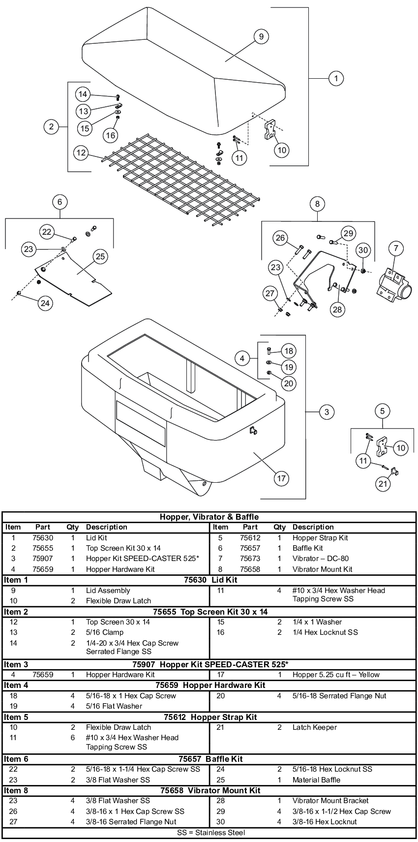 Fisher Speed-Caster 525 Hopper, Vibrator, and Baffle Parts Diagram