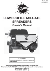FISHER LOW PROFILE SALT SPREADER OWNERS MANUAL