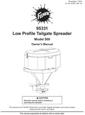 FISHER MODEL 500 SALT SPREADER OWNERS MANUAL