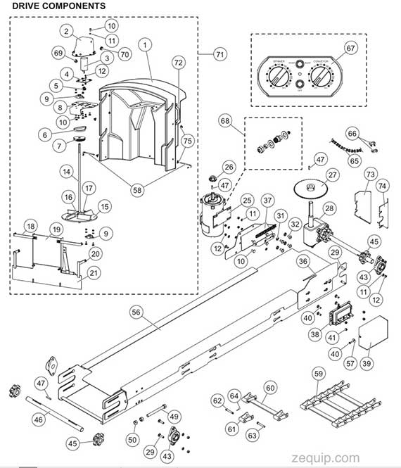 FISHER POLY-CASTER GENERATION 2 DRIVE COMPONENTS PARTS DIAGRAM