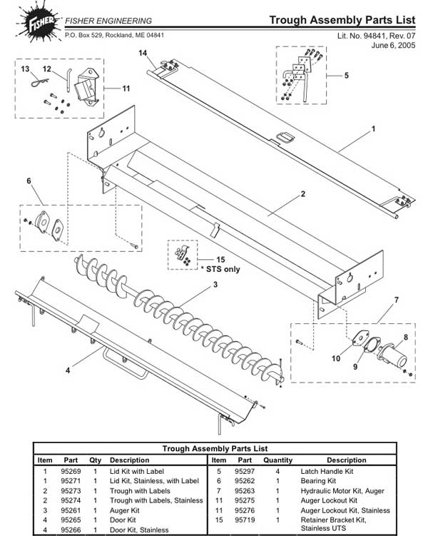 FISHER UNDER TAIL GATE TROUGH PARTS DIAGRAM