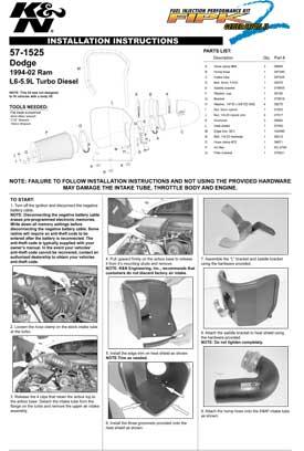 K&N FILTERS INTAKE 57-1525 INSTALLATION GUIDE