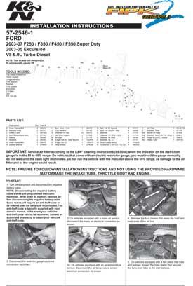 K&N FILTERS AIR INTAKE 57-2546-1 INSTALLATION GUIDE