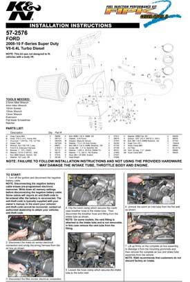 K&N FILTERS AIR INTAKE 57-2576 INSTALLATION GUIDE