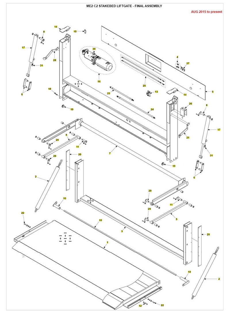 Maxon Liftgate Parts Diagram ME2 Stake Bed Body