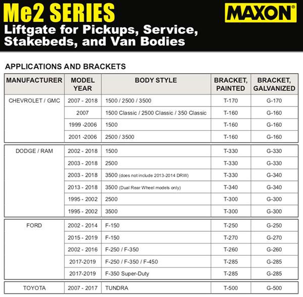 Maxon Me2 Lift Gate Brackets