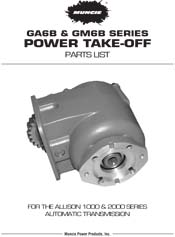 MUNCIE GA GM SERIES POWER TAKE OFF PARTS LIST