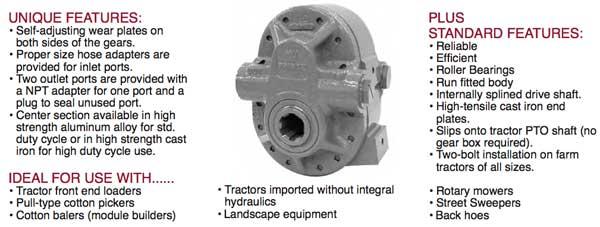 prince hydraulics pto pump information