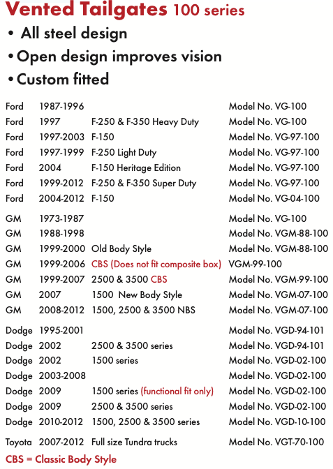 VENTED TAILGATES 100 series chart