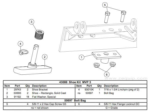 43088 Western Plow Shoe Kit Diagram