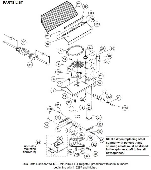 Proflospreader115297drive western pro flo spreader parts replacement salt spreader parts western 1000 salt spreader wiring diagram at gsmx.co