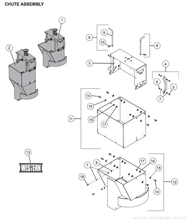 Western Striker Gas Engine Chute Assembly Parts Diagram