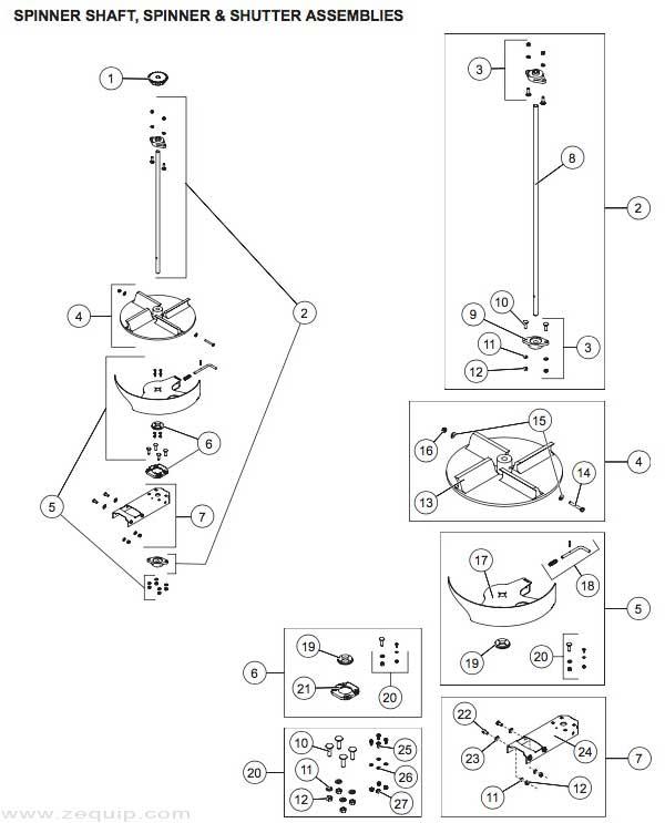 Western Striker Gas Engine Spinner & Shutter Parts Diagram