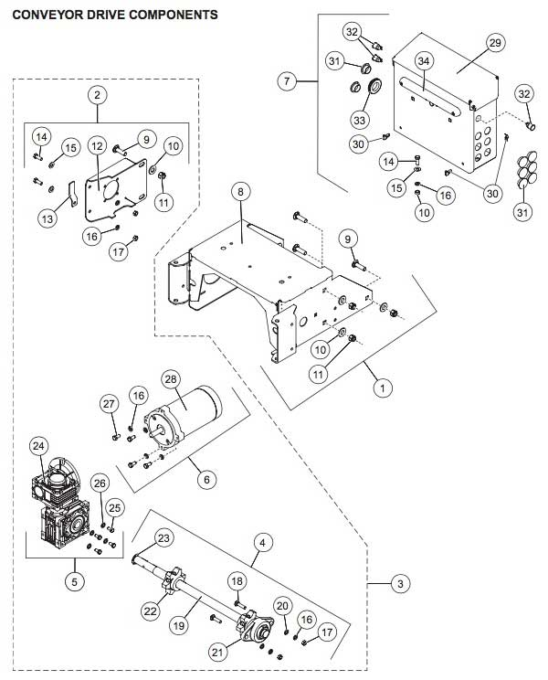 Striker Conveyor Drive Parts Diagram
