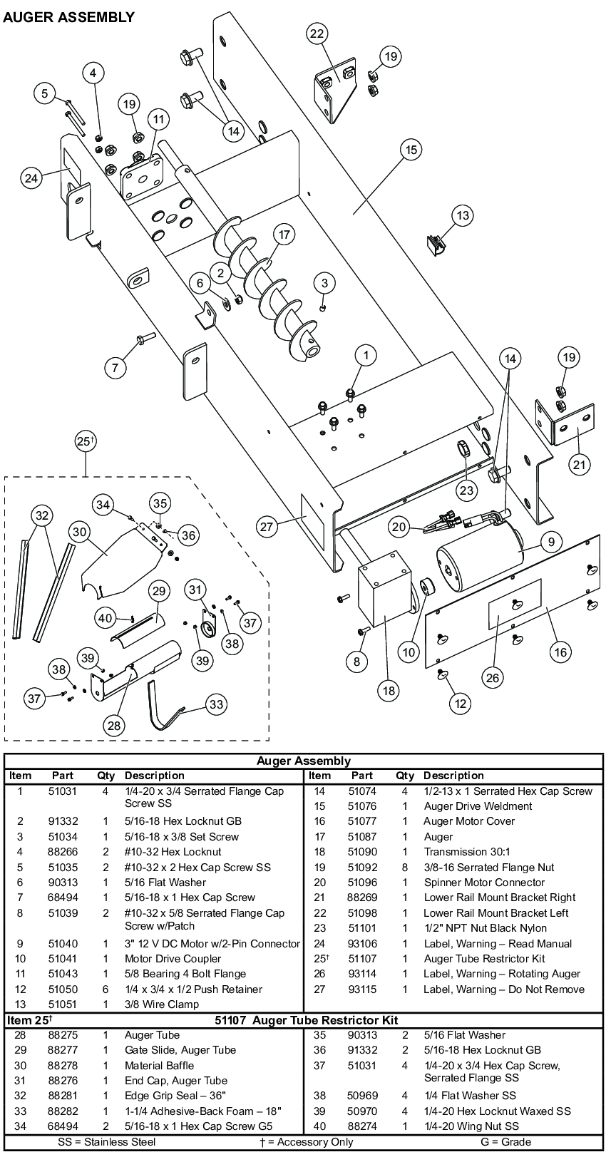 Western Tornado UTV Auger Parts Diagram